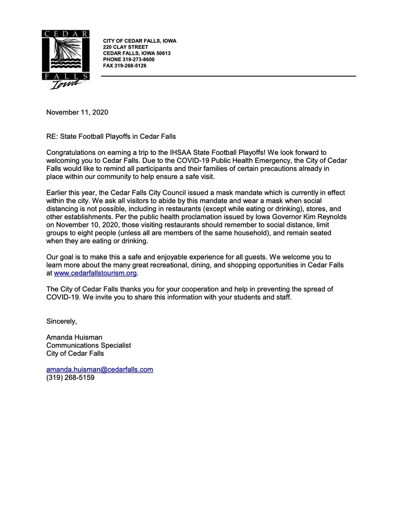 State Playoffs Letter
