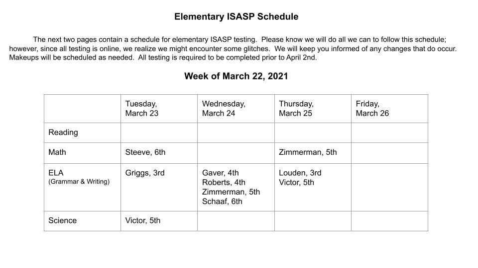 ISASP Schedule, Week of March 22