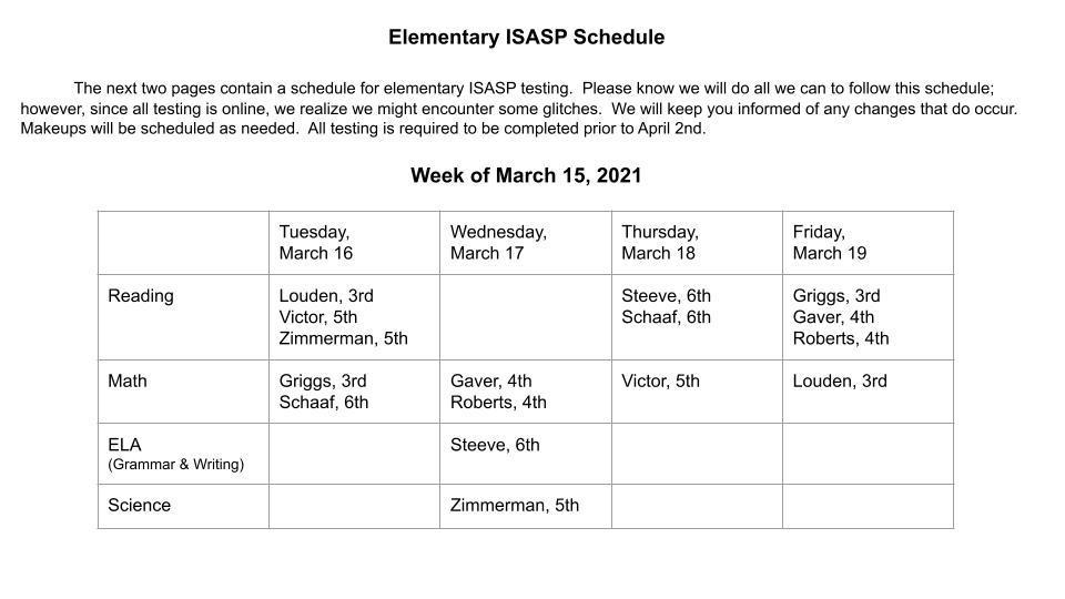 ISASP Schedule, Week of March 15