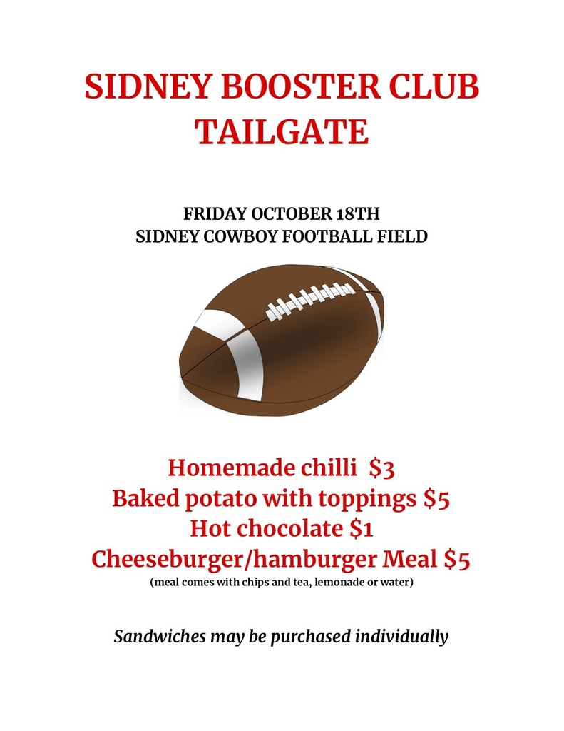 Please see the info for the tailgate in Sidney tonight!