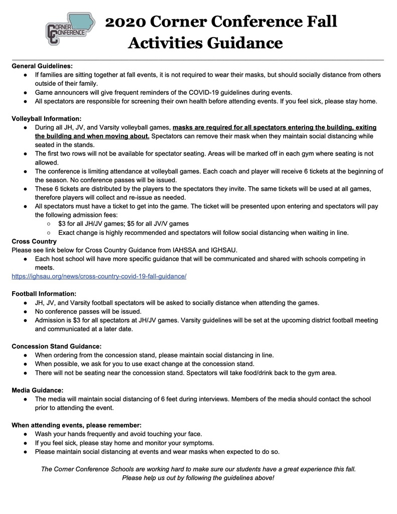 COVID-19 Fall Sports Guidelines